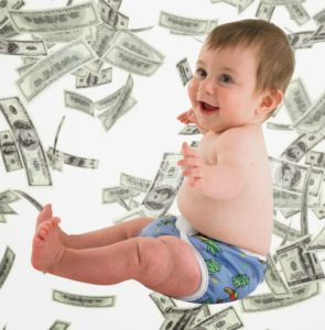 baby raining money